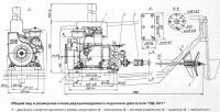 Общий вид и размерная схема двухцилиндрового лодочного двигателя ПД-221