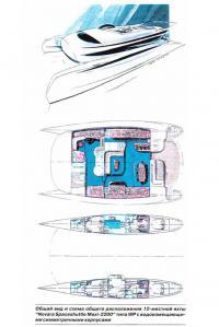 Общий вид и схема общего расположения 12-местной яхты