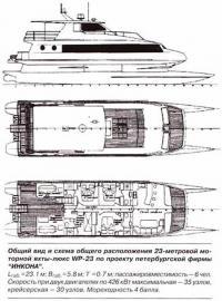 Общий вид и схема общего расположения 23-метровой моторной яхты-люкс WP-23