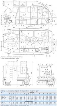 Общий вид, компоновка, конструкция корпуса и эскиз обводов плавдачи