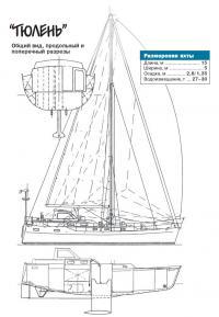 Общий вид, продольный и поперечный разрезы яхты Тюлень