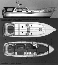 Основные эскизы общего вида и компоновки моторной яхты МОТ-111