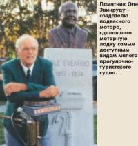 Памятник Оле Эвинруду – создателю подвесного мотора