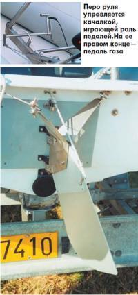 Перо руля управляется качалкой, играющей роль педалей