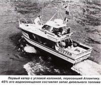 Первый катер с угловой колонкой, поресекший Атлантику