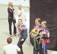 Победители в слаломе (слева направо): Вильям Ашер, Гленн Кэмпбелл и Патрис Мартен