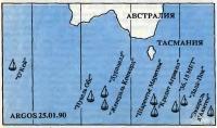 Положение участников на 25 января 1990 г., полученное по системе «Аргос»