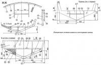 Поперечные сечения корпуса и конструкция транца