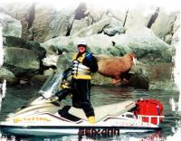 Позируют Дэвид и двухтонный самец моржа. Остров Ратманова
