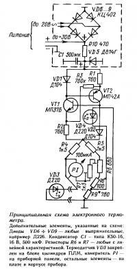 Принципиальная схема электронного термометра