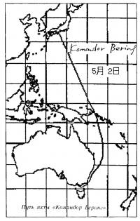 Путь яхты «Командор Беринг»