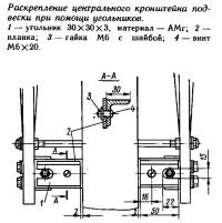 Раскрепление центрального кронштейна подвески при помощи угольников