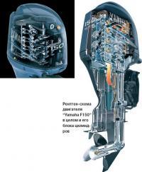 """Рентген-схема двигателя """"Yamaha F150"""" в целом и его блока цилиндров"""