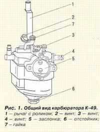 Рис. 1. Общий вид карбюратора К-49