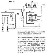 Рис. 2. Бесконтактная система зажигания с магнитным датчиком