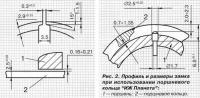 Рис. 2. Профиль и размеры замка при использовании поршневого кольца