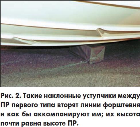 Рис. 2. Такие наклонные уступчики между ПР первого типа вторят линии форштевня