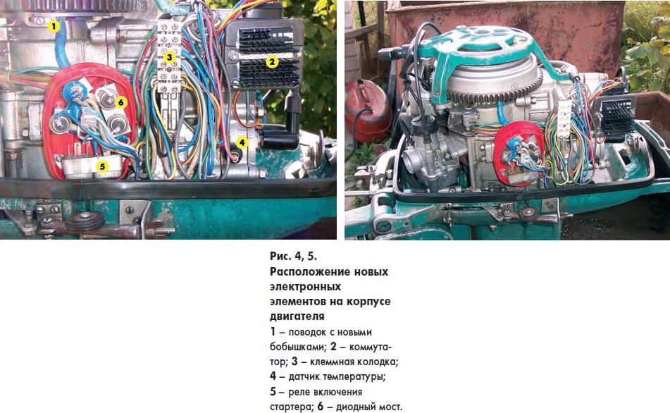 Рис. 4, 5. Расположение новых электронных элементов на корпусе двигателя