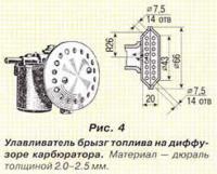 Рис. 4. Улавливатель брызг топлива на диффузоре карбюратора