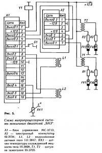 Рис. 5. Схема микропроцессорной системы зажигания двигателей ВАЗ
