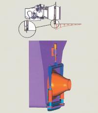 Рис. 5. Схема работы и общий вид интерцептора, установленного за транцем