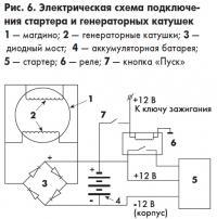 Рис. 6. Электрическая схема подключения стартера и генераторных катушек