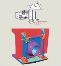 Рис. 6. Схема работы и общий вид транцевой плиты на судне с водометными движителями