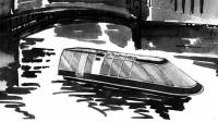 Рисунок катера в городском канале