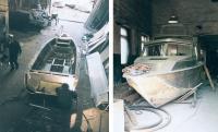 Серийная лодка (слева) и катер под два дизеля, строящийся на заказ