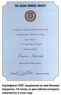 Сертификат ООГ, выданный на имя Евгения Смургиса