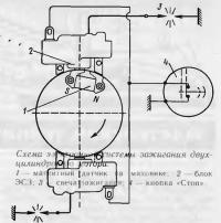 Схема электронной системы зажигания двухцилиндрового мотора