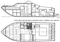 Схема общего расположения 7-метрового катера с обводами типа «эйрслот»