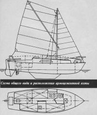 Схема общего вида и расположения армоцементной яхты