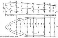 Схема обводов корпуса лодки