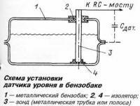 Схема установки датчика уровня в бензобаке