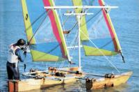 Скоростной тримаран с прозрачными парусами