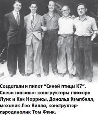 """Создатели и пилот """"Синей птицы К7"""""""