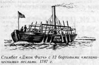 Стимбот «Джон Фитч» с 12 бортовыми «механическими» веслами