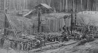 Строительство плотины у шлюза