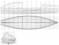Теоретический чертеж корпуса лодки Уралаз