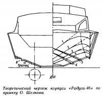 Теоретический чертеж корпуса «Радуга-46» по проекту О. Шелкова