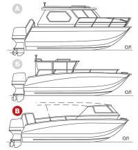 Три варианта катера Норд-Вест-65К. Выделен вариант В