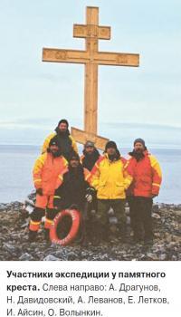 Участники экспедиции у памятного креста
