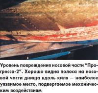 """Уровень повреждения носовой части """"Прогресса-2"""""""