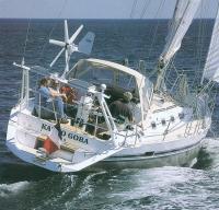 Вид сзади на яхту