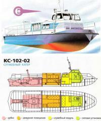 Внешний вид и общее расположение служебного катера КС-102-02