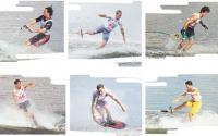 Воднолыжники демонстрируют элементы фигурного катания