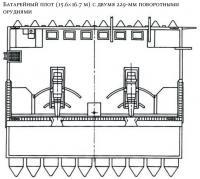 Батарейный плот с двумя 229-мм поворотными орудиями