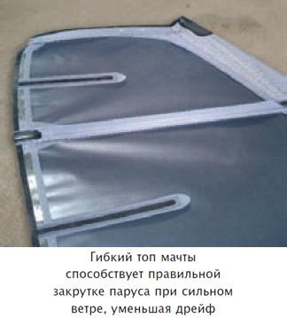 Гибкий топ мачты способствует правильной закрутке паруса при сильном ветре