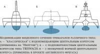 Модификации миделевого сечения тримаранов различного типа